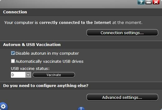Panda Cloud Antivirus connection settings
