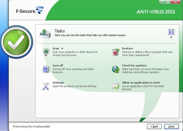 F-Secure Antivirus 2012 tasks