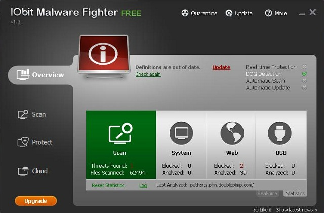 IObit Malware Fighter interface