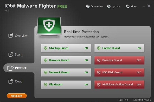 IObit Malware Fighter settings