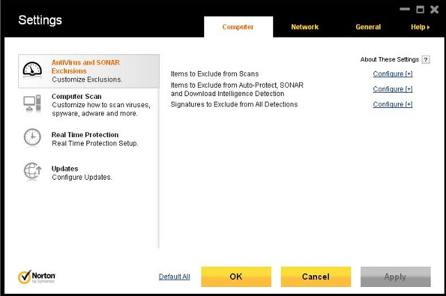 Norton Antivirus 2012 settings 2