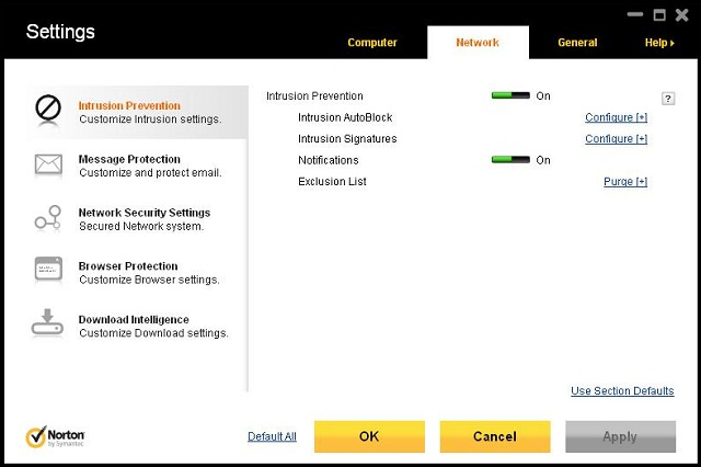 Norton Antivirus 2012 settings 3