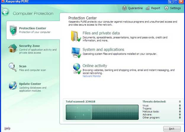 Kaspersky Pure features
