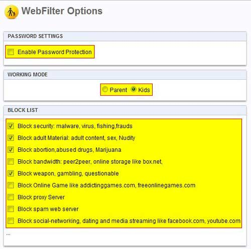 WebFilter-Pro-options