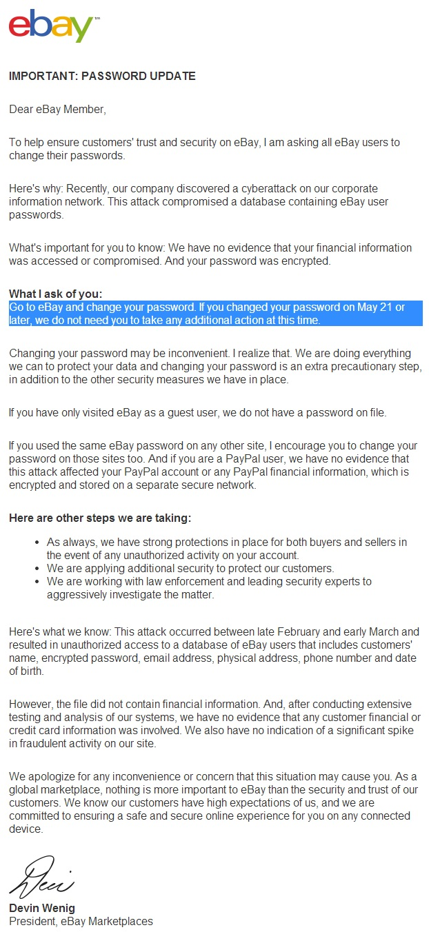 eBay password reset
