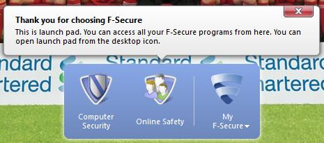 F-Secure Internet Security 2012 launch pad